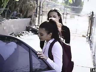 Schoolgirl taken and drilled by deranged married bosom