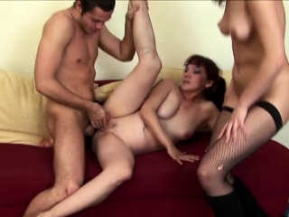 Brunette In Stockings Lets Her BF Fuck