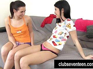 Lesbian teens lick and finger twats