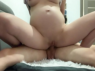HORNY PREGNANT WIFE RIDES MY COCK AND SHOWS HER LACTATING TITS