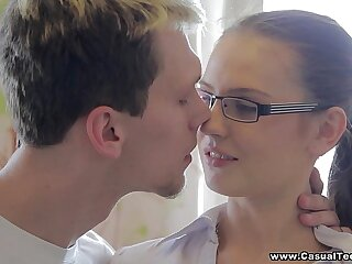 Unintended Teen Making love - Unintended sex with college teen porn nerd Timea Bella