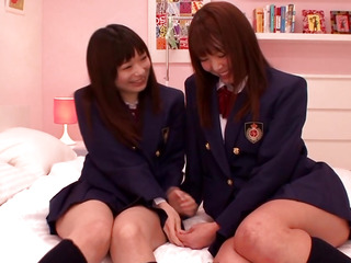 Japanese les legal age teenager schoolgirls share fake penis